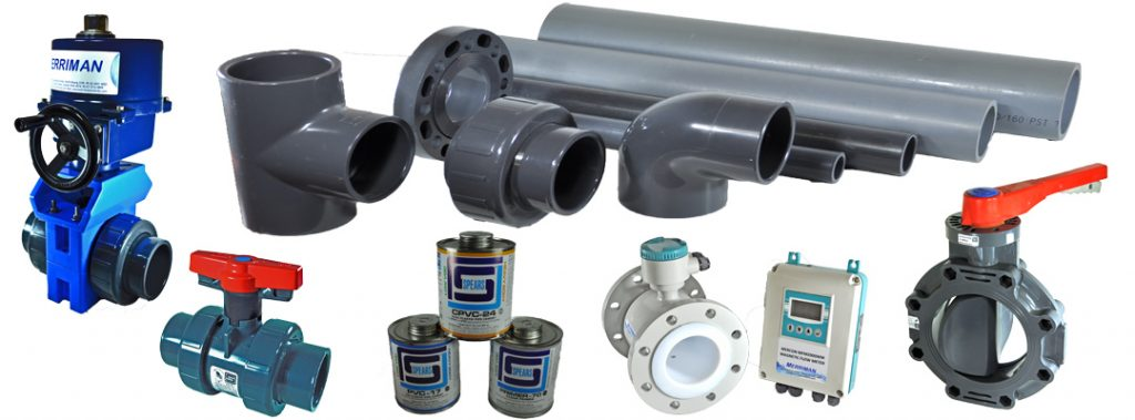UPVC industrial pipe systems, actuated valves, magnetic flow meters, UPVC, CPVC ball valves